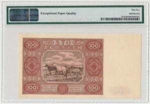100 złotych 1947 - Ser.F - mała litera - PMG 55 EPQ