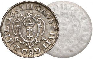 Jan II Kazimierz, Dwugrosz Gdańsk 1653 GR - jednostronna odbitka rewersu