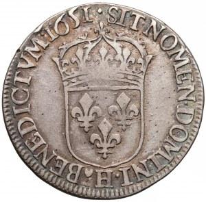 Francja, Ludwik XIV Wielki, 1/2 écu La Rochelle 1651
