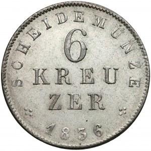 Niemcy, Hesja-Darmstadt, 6 krajcarów 1836