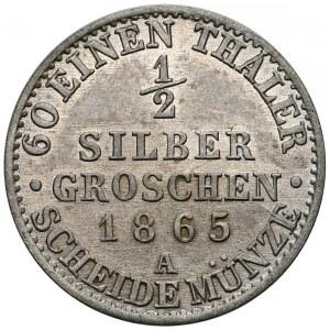 Niemcy, Prusy, Wilhelm I, 1/2 silber groschen 1865-A