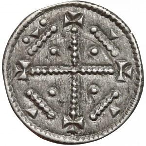 Węgry, Bela III (1172–96), Denar - krzyż z perełek
