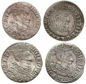 Zygmunt III Waza, Grosze Gdańsk 1624-1627 (4szt)