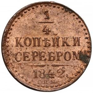 Rosja, 1/4 kopiejki srebrem 1842 СПМ