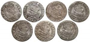 Zygmunt III Waza, Grosze Gdańsk 1625-1627 (7szt)