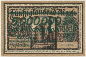 Gdańsk 5 mln mk PRZEDRUK na 50.000 mk 1923