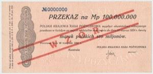 WZÓR Przekaz na 100 mln mkp 1923