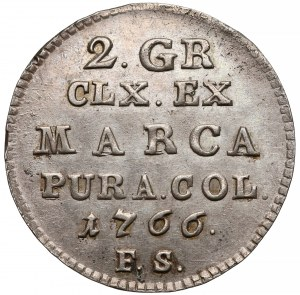 Poniatowski, Półzłotek 1766 F.S. - 8 listków - piękny