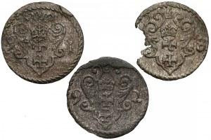 Zygmunt III Waza, Denary Gdańsk 1591-98 (3szt)