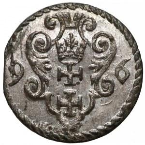 Zygmunt III Waza, Denar Gdańsk 1596 - małe cyfry - piękny