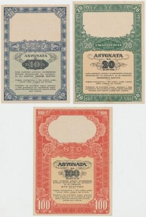 Asygnata Ministerstwa Skarbu (1939) - 10, 20 i 100 zł (3szt)