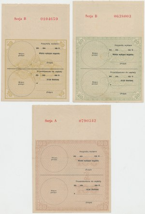 Asygnata Ministerstwa Skarbu (1939) - 10, 20 i 100 złotych (3szt)