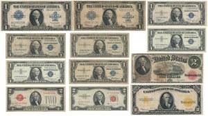 USA, Zestaw dolarów 1917-57 w tym Gold Certificate 1922 (12szt)