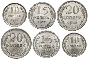ZSRR, 10, 15 i 20 kopiejek, 1927-1928, zestaw (6szt)