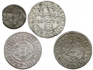 Stefan Batory, Denar Gdańsk 1583 i Szelągi 1578-84, zestaw (4szt)