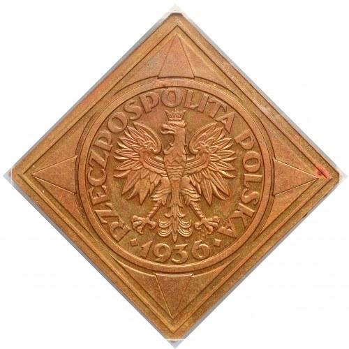 Klipa BRĄZ 5 złotych 1936 Żaglowiec - ex KAROLKIEWICZ i Herstal - NGC PF61