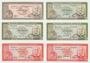 Tonga, 1/2, 1 i 2 pa'anga 1975-89 - zestaw (6szt)