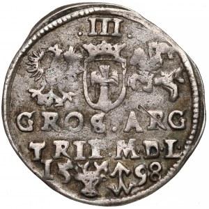 Zygmunt III Waza, Trojak Wilno 1598 - kryza falista (R4)