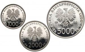 Próba NIKIEL 1-5 tys. złotych 1988 Jan Paweł II - X lat pontyfikatu, zestaw (3szt)