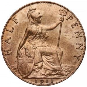 Wielka Brytania, Jerzy V, 1/2 pensa 1911