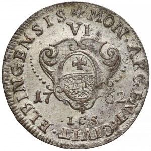 August III Sas, Szóstak Elbląg 1762 ICS - grube pop. - rzadki