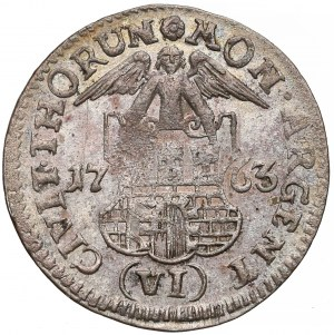 August III Sas, Szóstak Toruń 1763 - bez liter - b. rzadki