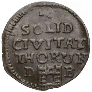August III Sas, Szeląg Toruń 1761 DB - z inicjałami