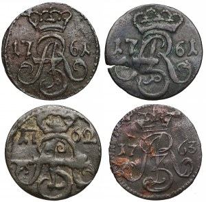 August III Sas, Szelągi Toruń 1761-63, zestaw (4szt)