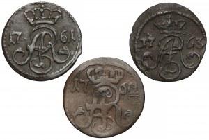 August III Sas, Szelągi Toruń 1761-63, zestaw (3szt)