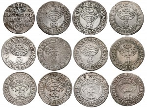 Zygmunt I Stary, Grosze Gdańsk 1531-1540 + Trojak 1538 (12szt)