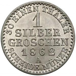 Niemcy, Prusy, Wilhelm I, 1 silber groschen 1862-A