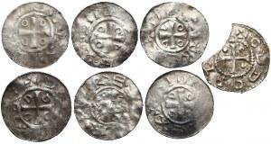 Niemcy, Otto III i Adelajda, Denary z kapliczką, zestaw (7szt)