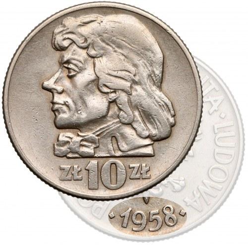 Próba MIEDZIONIKIEL 10 złotych 1958 Kościuszko - głowa (1 z 5 szt)