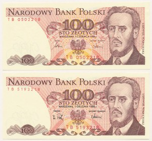 100 złotych TB - parka 1986 i 1988 rok