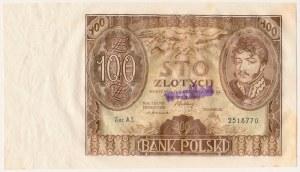 100 złotych 1932 - AS - unieważniony stemplem WERTLOS