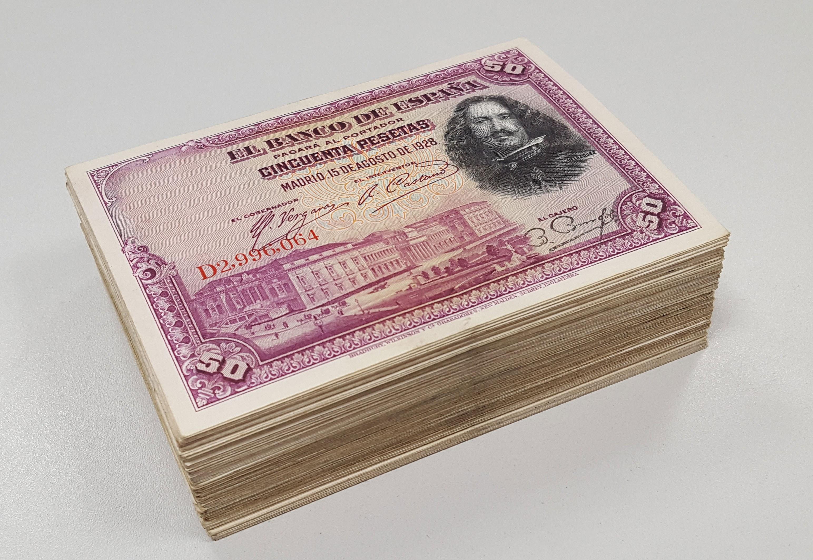 Hiszpania, 50 pesetas 1928 - pakiet (250szt)