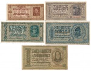 Ukraina, od 10 do 200 karbowańców 1942 - zestaw (5szt)