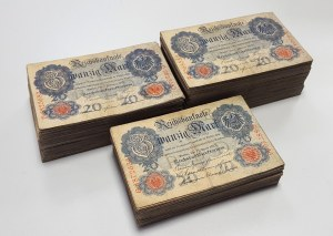 Niemcy, 20 mark 1906-1914 - pakiet (683szt)