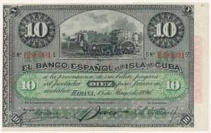 Kuba, 10 pesos 1896 - stempel PLATA
