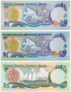 Kajmany, 1 i 5 dollars 1991-2003 - zestaw (3szt)