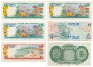 Bahamy, 4 shillings, 1 i 3 dollars (1953-1992) - zestaw (6szt)