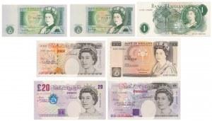 Wielka Brytania, 1, 10 i 20 pounds (1966-1999) - zestaw (7szt)