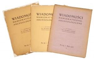 Wiadomości Numizmatyczno-Archeologiczne, Rok 1906 nr 1, 2 i 3 (3szt)