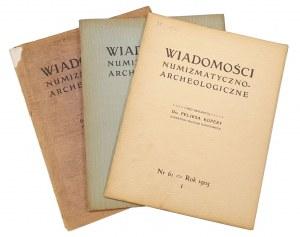 Wiadomości Numizmatyczno-Archeologiczne, Rok 1905 nr 1, 2, 3 (3szt)