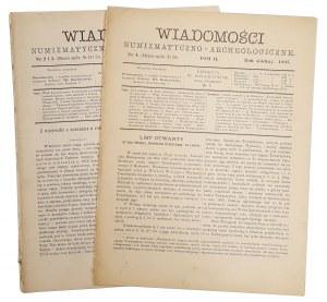 Wiadomości Numizmatyczno-Archeologiczne, Rok 1895 nr 2-3, 4 (2szt)