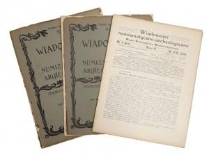 Wiadomości Numizmatyczno-Archeologiczne, Rok 1904 nr 1, 3, 4 (3szt)