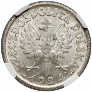 Kobieta i kłosy 1 złoty 1924 - NGC MS61