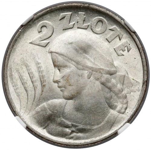 Kobieta i kłosy 2 złote 1924 ODWROTKA - NGC MS63+