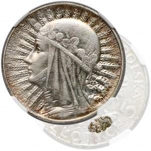 Głowa Kobiety 5 złotych 1932 Warszawa - rzadkie - NGC AU53