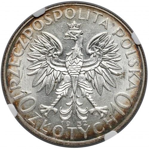 Głowa Kobiety 10 złotych 1932 Warszawa - NGC MS61